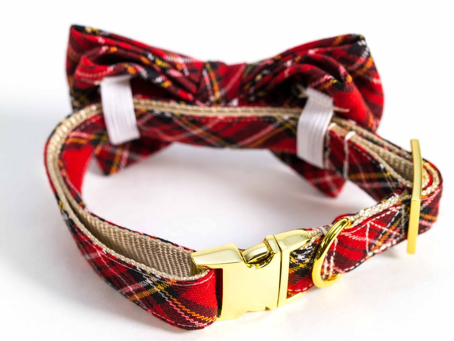 Darling Dear Co_Red and Black Tartan Bow Tie Collar_7715